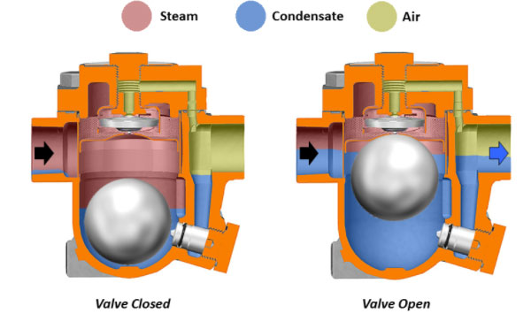 Steam Traps Functioning - Steam, Condensate, Air